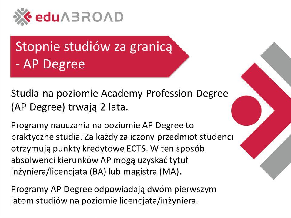 Stopnie studiów za granicą - AP Degree Studia na poziomie Academy Profession Degree (AP Degree) trwają 2 lata.