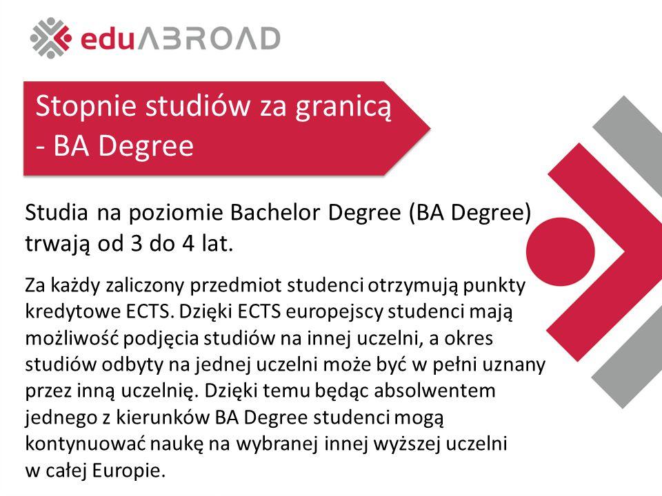 Stopnie studiów za granicą - BA Degree Studia na poziomie Bachelor Degree (BA Degree) trwają od 3 do 4 lat.