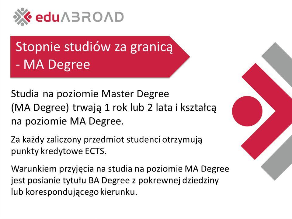 Stopnie studiów za granicą - MA Degree Studia na poziomie Master Degree (MA Degree) trwają 1 rok lub 2 lata i kształcą na poziomie MA Degree.