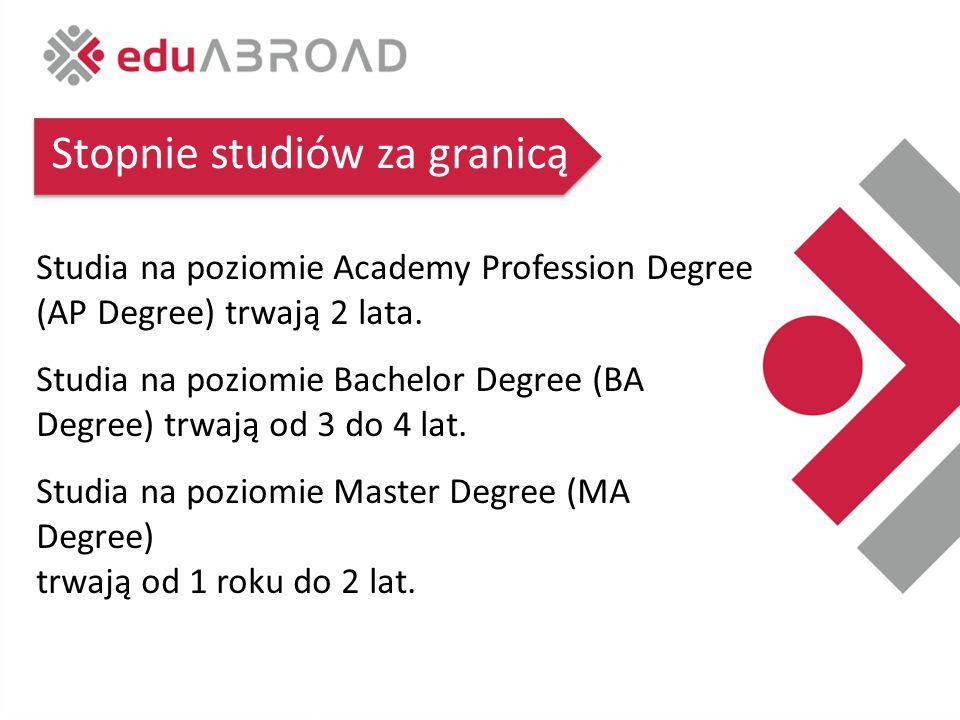 Stopnie studiów za granicą Studia na poziomie Academy Profession Degree (AP Degree) trwają 2 lata.