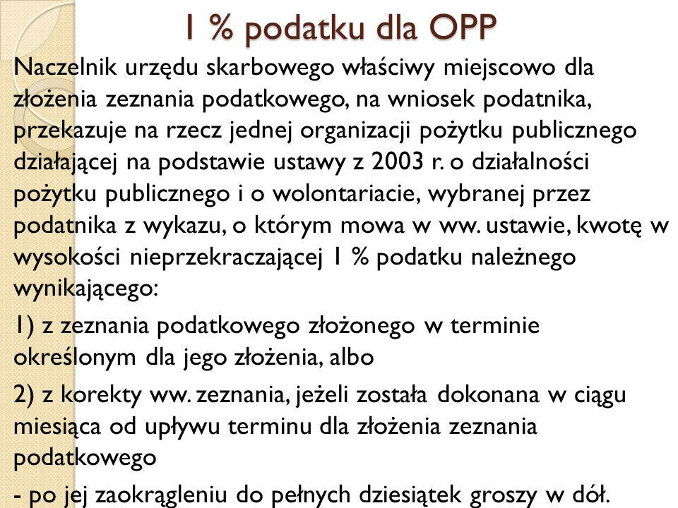 1 % podatku dla OPP Naczelnik urzędu skarbowego właściwy miejscowo dla złożenia zeznania podatkowego, na wniosek podatnika, przekazuje na rzecz jednej