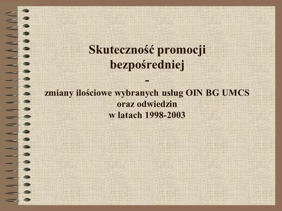 Skuteczność promocji bezpośredniej - zmiany ilościowe wybranych usług OIN BG UMCS oraz odwiedzin w latach 1998-2003
