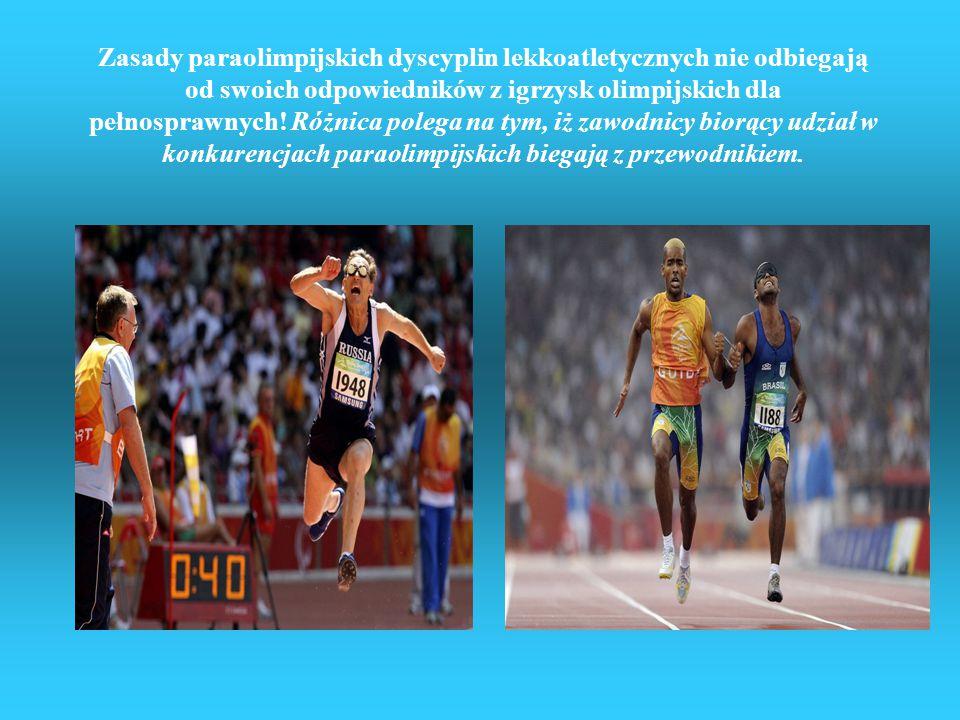 Lekkoatletyka Dyscypliny lekkoatletyki na paraolimpiadzie w Pekinie: biegi skoki wzwyż Skok w dal trójskok rzuty kulą rzuty oszczepem rzuty dyskiem rz