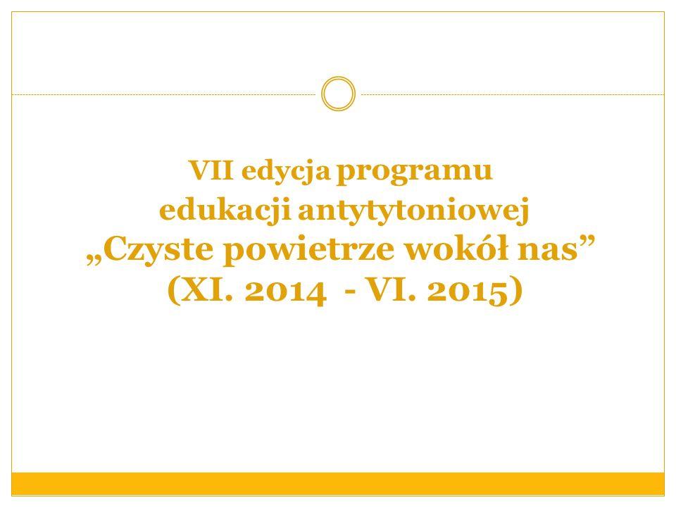 """VII edycja programu edukacji antytytoniowej """"Czyste powietrze wokół nas"""" (XI. 2014 - VI. 2015)"""