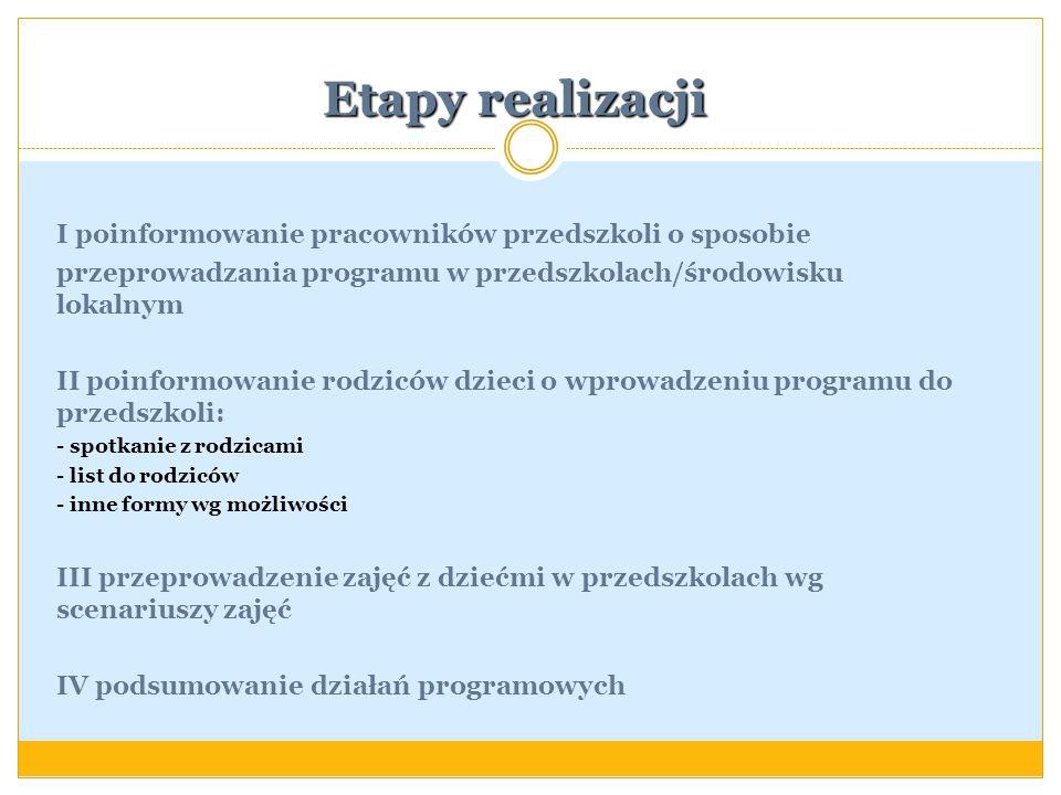 Etapy realizacji I poinformowanie pracowników przedszkoli o sposobie przeprowadzania programu w przedszkolach/środowisku lokalnym II poinformowanie ro