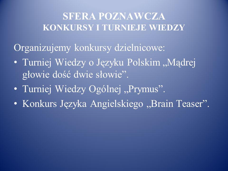 """SFERA POZNAWCZA KONKURSY I TURNIEJE WIEDZY Organizujemy konkursy dzielnicowe: Turniej Wiedzy o Języku Polskim """"Mądrej głowie dość dwie słowie"""". Turnie"""