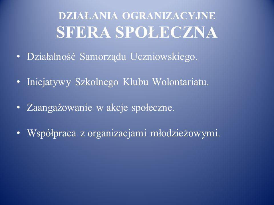DZIAŁANIA OGRANIZACYJNE SFERA SPOŁECZNA Działalność Samorządu Uczniowskiego. Inicjatywy Szkolnego Klubu Wolontariatu. Zaangażowanie w akcje społeczne.