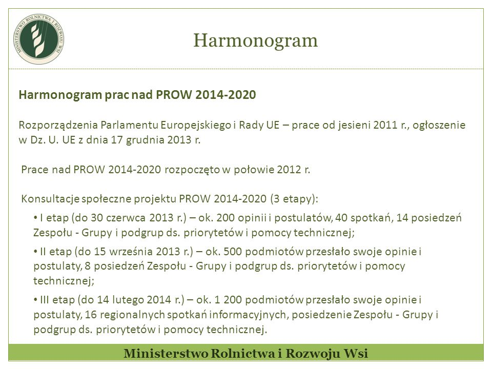 Ministerstwo Rolnictwa i Rozwoju Wsi Harmonogram prac nad PROW 2014-2020 Rozporządzenia Parlamentu Europejskiego i Rady UE – prace od jesieni 2011 r., ogłoszenie w Dz.
