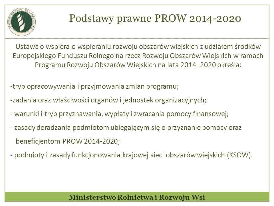 Ministerstwo Rolnictwa i Rozwoju Wsi Ustawa o wspiera o wspieraniu rozwoju obszarów wiejskich z udziałem środków Europejskiego Funduszu Rolnego na rzecz Rozwoju Obszarów Wiejskich w ramach Programu Rozwoju Obszarów Wiejskich na lata 2014–2020 określa: -tryb opracowywania i przyjmowania zmian programu; -zadania oraz właściwości organów i jednostek organizacyjnych; - warunki i tryb przyznawania, wypłaty i zwracania pomocy finansowej; - zasady doradzania podmiotom ubiegającym się o przyznanie pomocy oraz beneficjentom PROW 2014-2020; - podmioty i zasady funkcjonowania krajowej sieci obszarów wiejskich (KSOW).