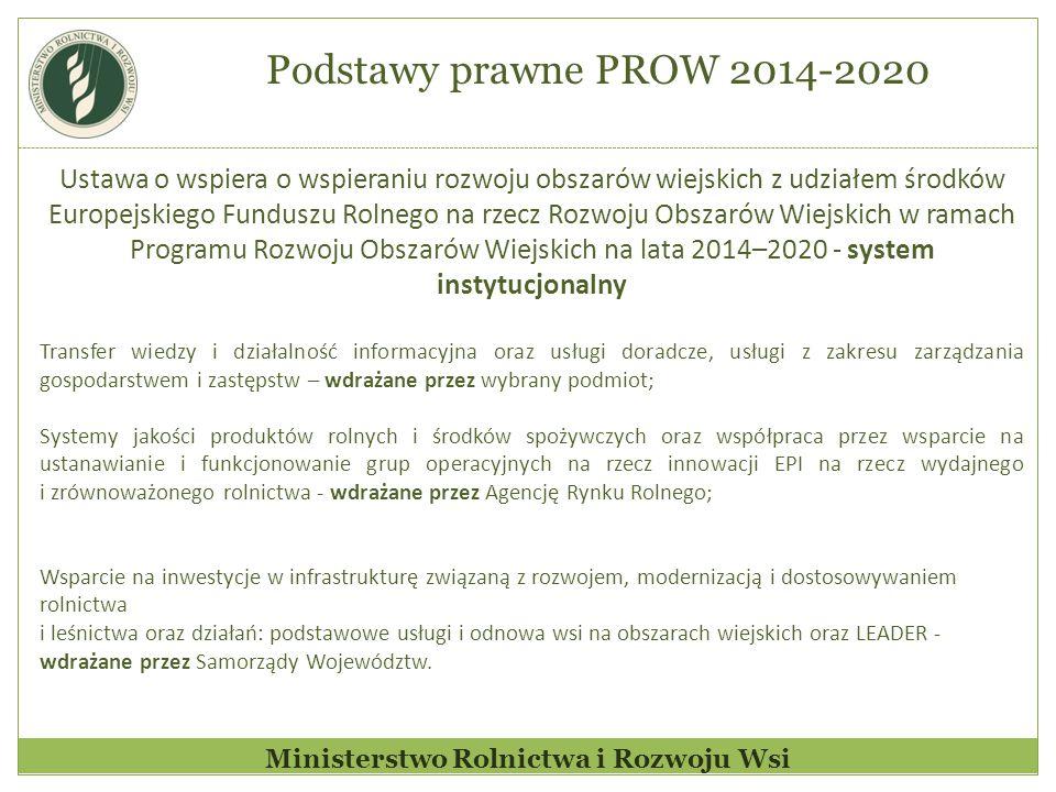 Ministerstwo Rolnictwa i Rozwoju Wsi Ustawa o wspiera o wspieraniu rozwoju obszarów wiejskich z udziałem środków Europejskiego Funduszu Rolnego na rzecz Rozwoju Obszarów Wiejskich w ramach Programu Rozwoju Obszarów Wiejskich na lata 2014–2020 - system instytucjonalny Transfer wiedzy i działalność informacyjna oraz usługi doradcze, usługi z zakresu zarządzania gospodarstwem i zastępstw – wdrażane przez wybrany podmiot; Systemy jakości produktów rolnych i środków spożywczych oraz współpraca przez wsparcie na ustanawianie i funkcjonowanie grup operacyjnych na rzecz innowacji EPI na rzecz wydajnego i zrównoważonego rolnictwa - wdrażane przez Agencję Rynku Rolnego; Wsparcie na inwestycje w infrastrukturę związaną z rozwojem, modernizacją i dostosowywaniem rolnictwa i leśnictwa oraz działań: podstawowe usługi i odnowa wsi na obszarach wiejskich oraz LEADER - wdrażane przez Samorządy Województw.