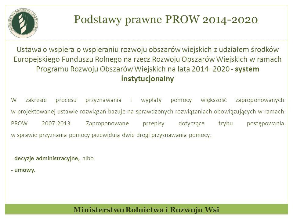 Ministerstwo Rolnictwa i Rozwoju Wsi Ustawa o wspiera o wspieraniu rozwoju obszarów wiejskich z udziałem środków Europejskiego Funduszu Rolnego na rzecz Rozwoju Obszarów Wiejskich w ramach Programu Rozwoju Obszarów Wiejskich na lata 2014–2020 - system instytucjonalny W zakresie procesu przyznawania i wypłaty pomocy większość zaproponowanych w projektowanej ustawie rozwiązań bazuje na sprawdzonych rozwiązaniach obowiązujących w ramach PROW 2007-2013.