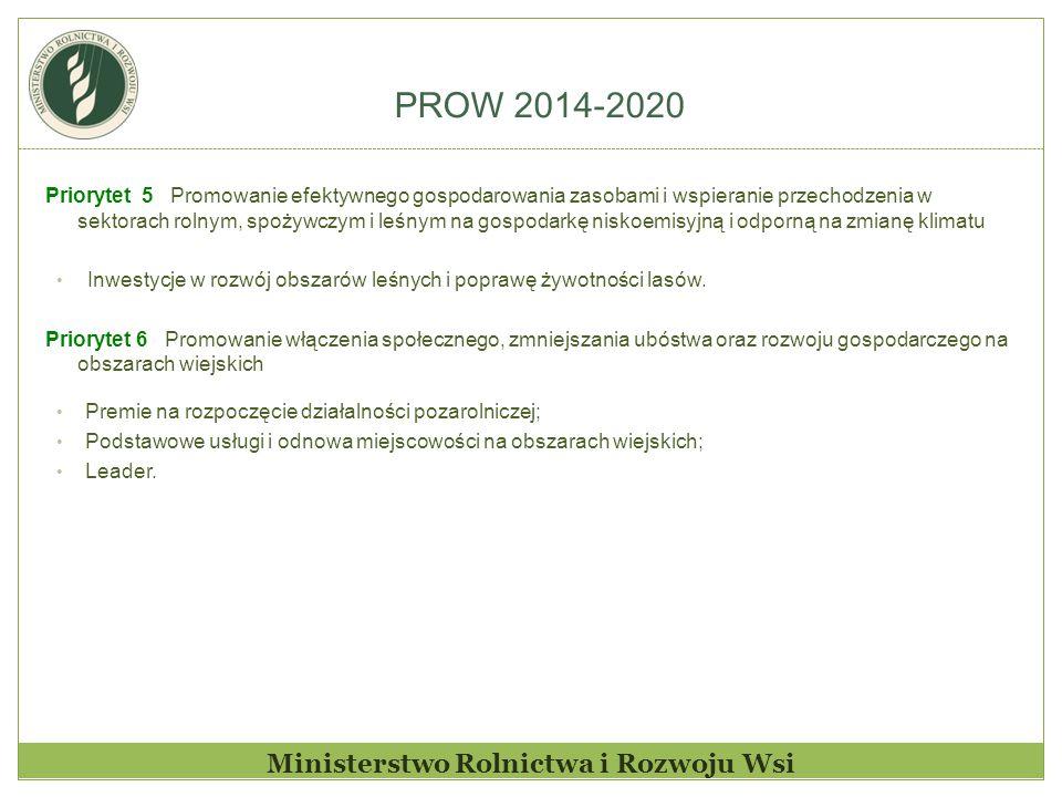 PROW 2014-2020 Ministerstwo Rolnictwa i Rozwoju Wsi Priorytet 5 Promowanie efektywnego gospodarowania zasobami i wspieranie przechodzenia w sektorach rolnym, spożywczym i leśnym na gospodarkę niskoemisyjną i odporną na zmianę klimatu Inwestycje w rozwój obszarów leśnych i poprawę żywotności lasów.