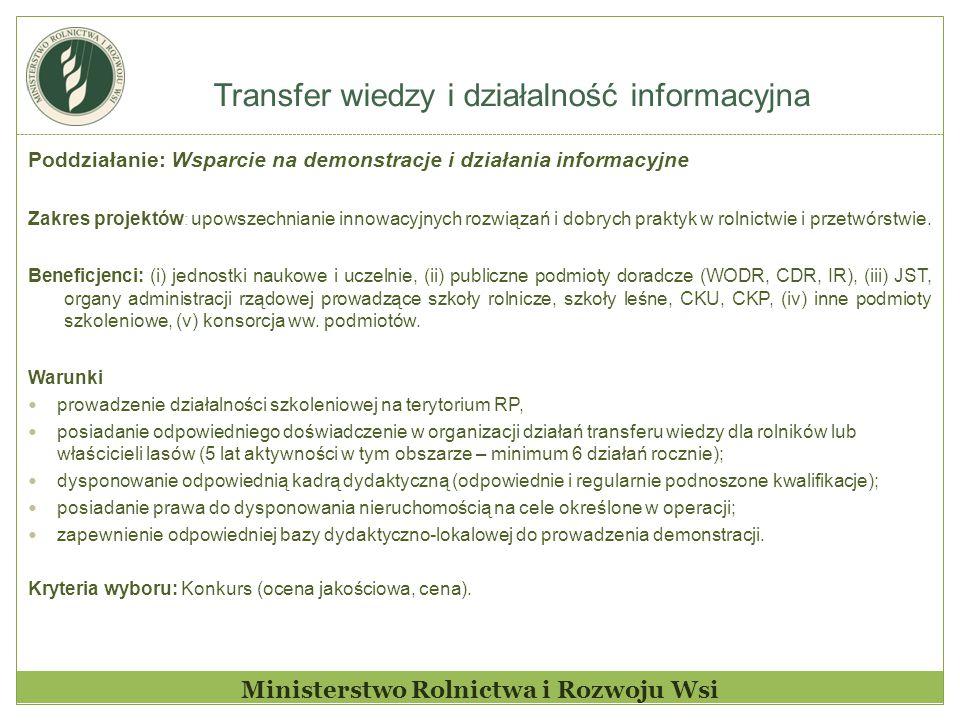 Transfer wiedzy i działalność informacyjna Ministerstwo Rolnictwa i Rozwoju Wsi Poddziałanie: Wsparcie na demonstracje i działania informacyjne Zakres