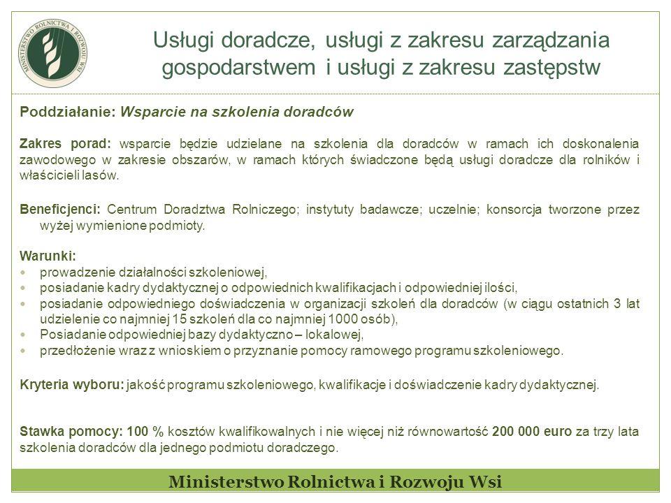 Usługi doradcze, usługi z zakresu zarządzania gospodarstwem i usługi z zakresu zastępstw Ministerstwo Rolnictwa i Rozwoju Wsi Poddziałanie: Wsparcie n