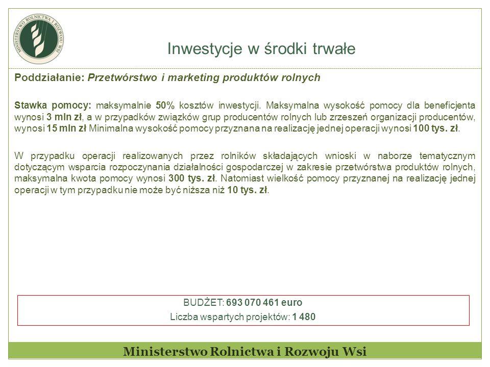 Inwestycje w środki trwałe Ministerstwo Rolnictwa i Rozwoju Wsi Poddziałanie: Przetwórstwo i marketing produktów rolnych Stawka pomocy: maksymalnie 50