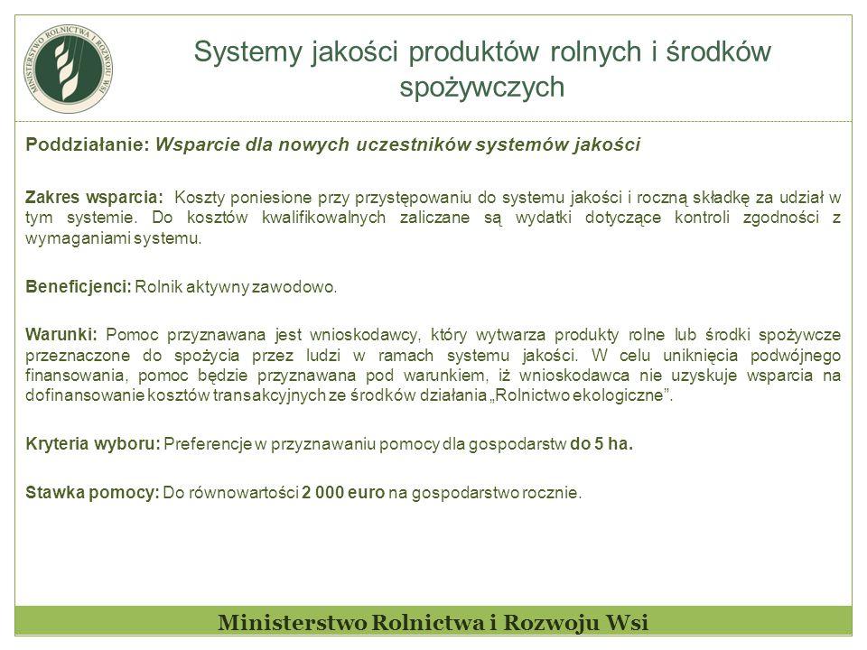 Systemy jakości produktów rolnych i środków spożywczych Ministerstwo Rolnictwa i Rozwoju Wsi Poddziałanie: Wsparcie dla nowych uczestników systemów ja