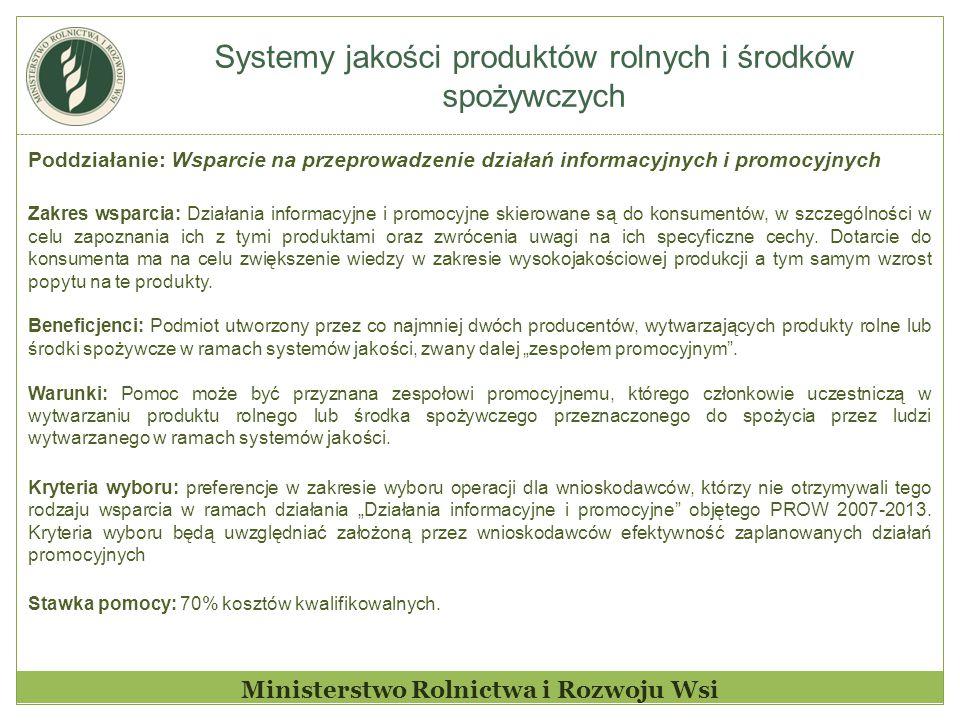 Systemy jakości produktów rolnych i środków spożywczych Ministerstwo Rolnictwa i Rozwoju Wsi Poddziałanie: Wsparcie na przeprowadzenie działań informa