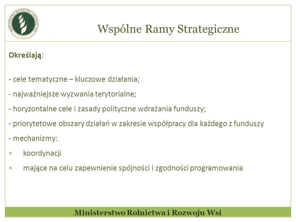 Ministerstwo Rolnictwa i Rozwoju Wsi Określają: - cele tematyczne – kluczowe działania; - najważniejsze wyzwania terytorialne; - horyzontalne cele i zasady polityczne wdrażania funduszy; - priorytetowe obszary działań w zakresie współpracy dla każdego z funduszy - mechanizmy: koordynacji mające na celu zapewnienie spójności i zgodności programowania Wspólne Ramy Strategiczne