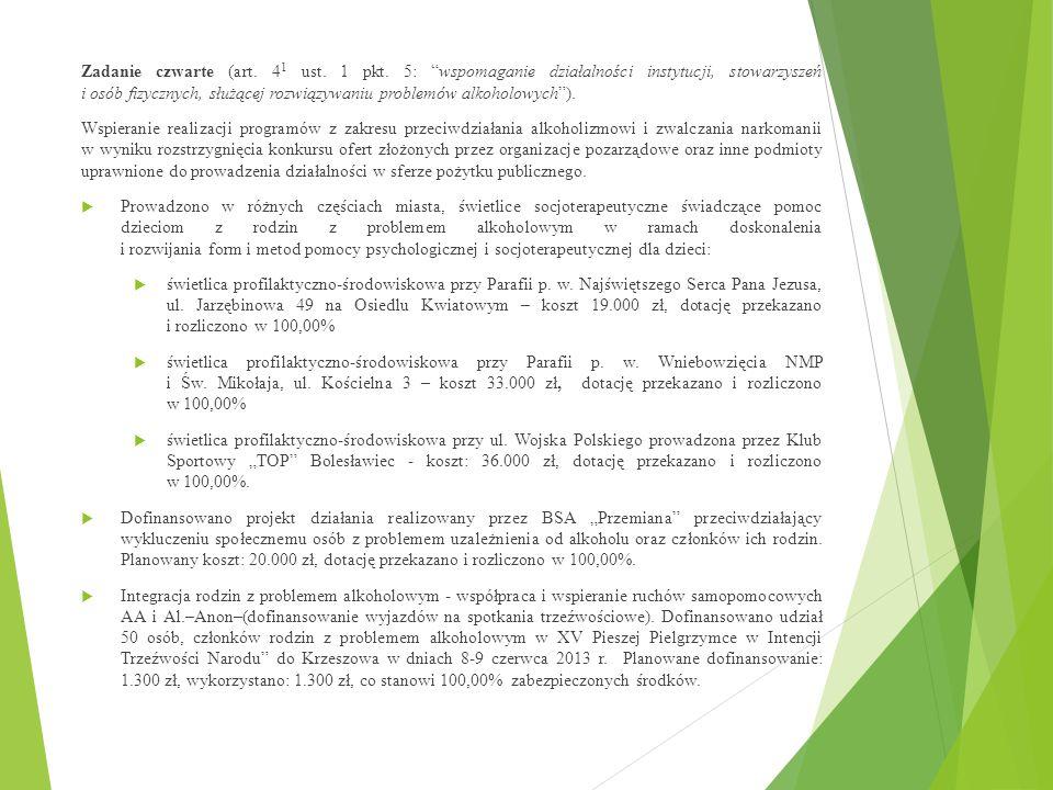 """Zadanie czwarte (art. 4 1 ust. 1 pkt. 5: """"wspomaganie działalności instytucji, stowarzyszeń i osób fizycznych, służącej rozwiązywaniu problemów alkoho"""