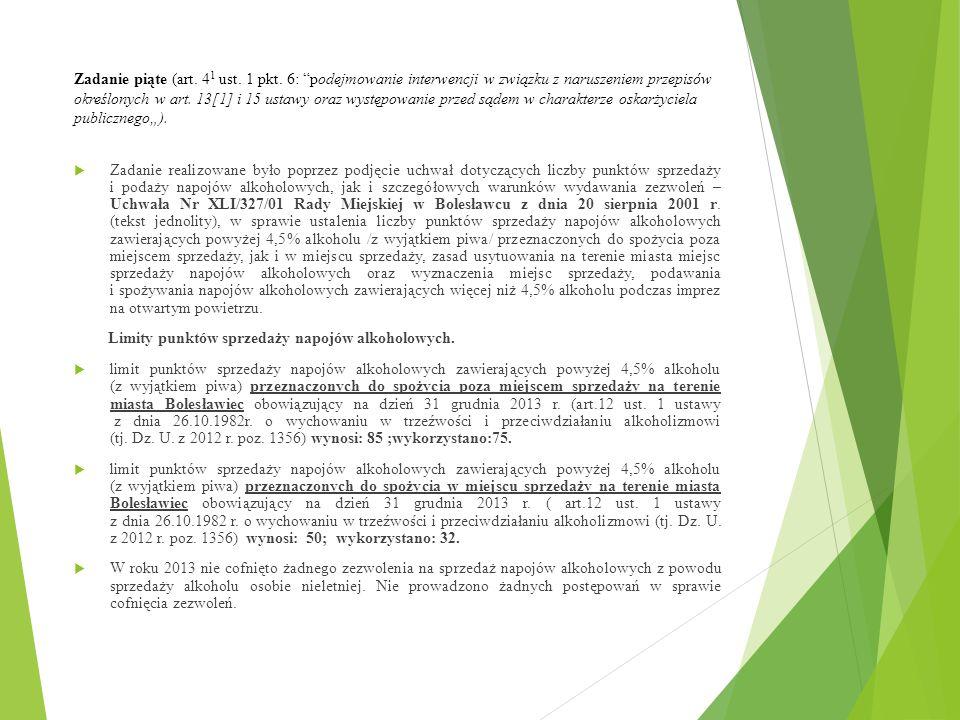 """Zadanie piąte (art. 4 1 ust. 1 pkt. 6: """"podejmowanie interwencji w związku z naruszeniem przepisów określonych w art. 13[1] i 15 ustawy oraz występowa"""