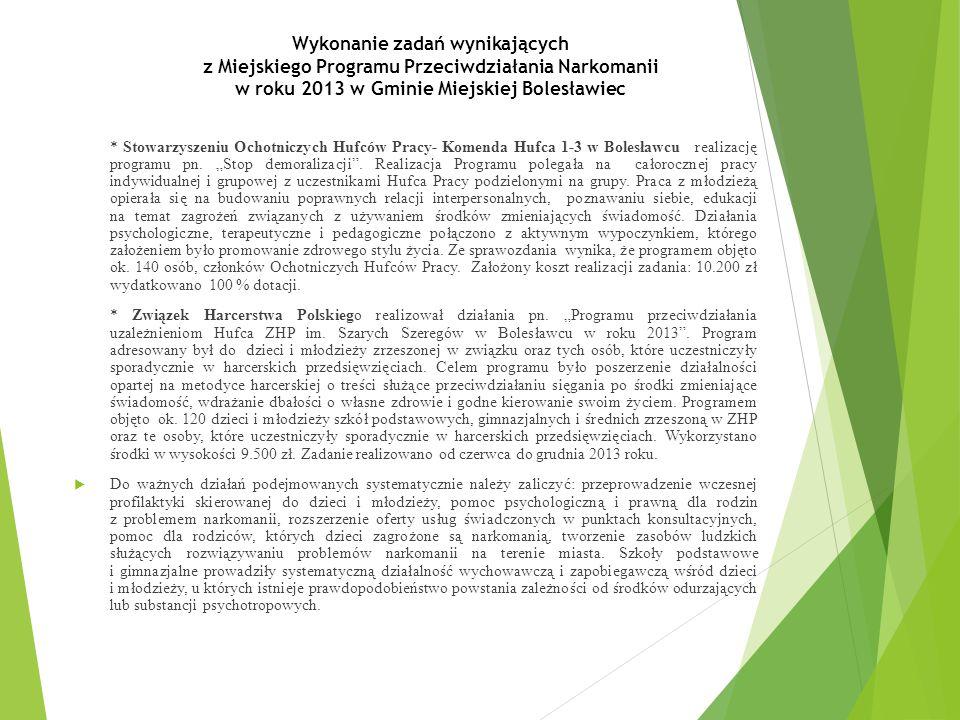 Wykonanie zadań wynikających z Miejskiego Programu Przeciwdziałania Narkomanii w roku 2013 w Gminie Miejskiej Bolesławiec * Stowarzyszeniu Ochotniczych Hufców Pracy- Komenda Hufca 1-3 w Bolesławcu realizację programu pn.