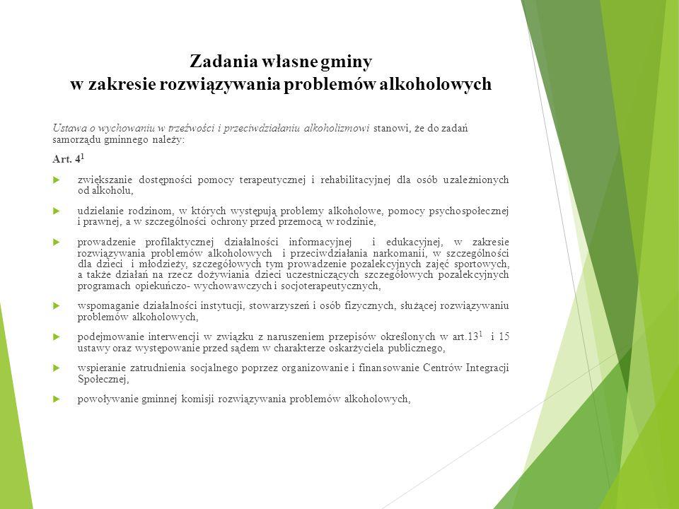 Zadania własne gminy w zakresie rozwiązywania problemów alkoholowych Ustawa o wychowaniu w trzeźwości i przeciwdziałaniu alkoholizmowi stanowi, że do zadań samorządu gminnego należy: Art.