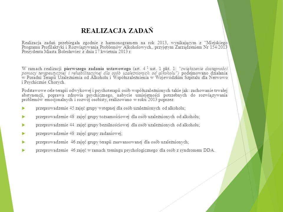 """REALIZACJA ZADAŃ Realizacja zadań przebiegała zgodnie z harmonogramem na rok 2013, wynikającym z Miejskiego Programu Profilaktyki i Rozwiązywania Problemów Alkoholowych"""" przyjętym Zarządzeniem Nr 154/2013 Prezydenta Miasta Bolesławiec z dnia 17 kwietnia 2013 r."""