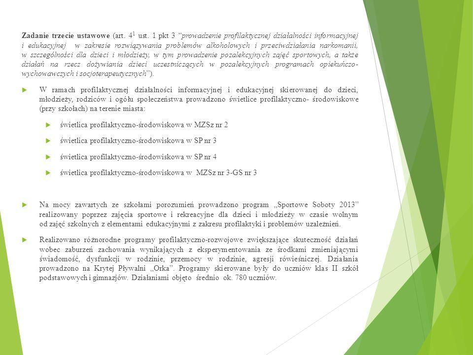 """Zadanie trzecie ustawowe (art. 4 1 ust. 1 pkt 3 """"prowadzenie profilaktycznej działalności informacyjnej i edukacyjnej w zakresie rozwiązywania problem"""