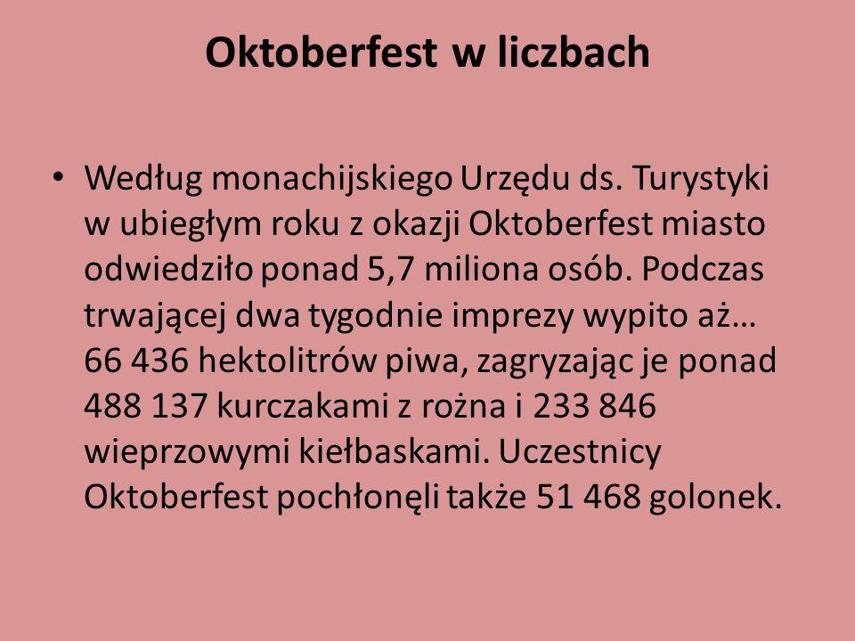 Oktoberfest w liczbach Według monachijskiego Urzędu ds. Turystyki w ubiegłym roku z okazji Oktoberfest miasto odwiedziło ponad 5,7 miliona osób. Podcz