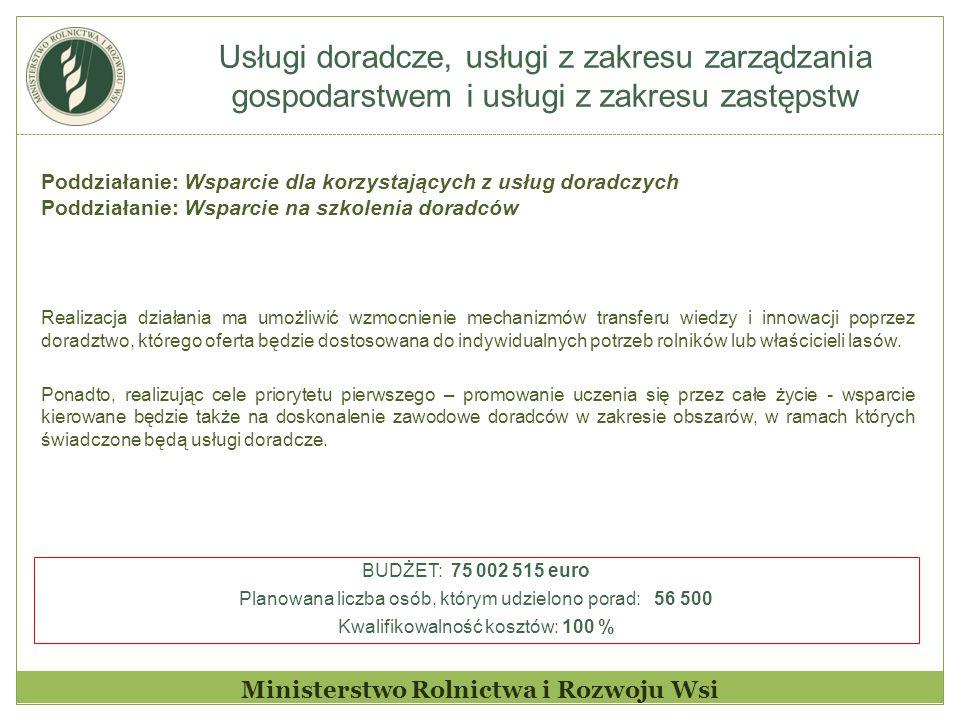 Usługi doradcze, usługi z zakresu zarządzania gospodarstwem i usługi z zakresu zastępstw Ministerstwo Rolnictwa i Rozwoju Wsi Poddziałanie: Wsparcie d