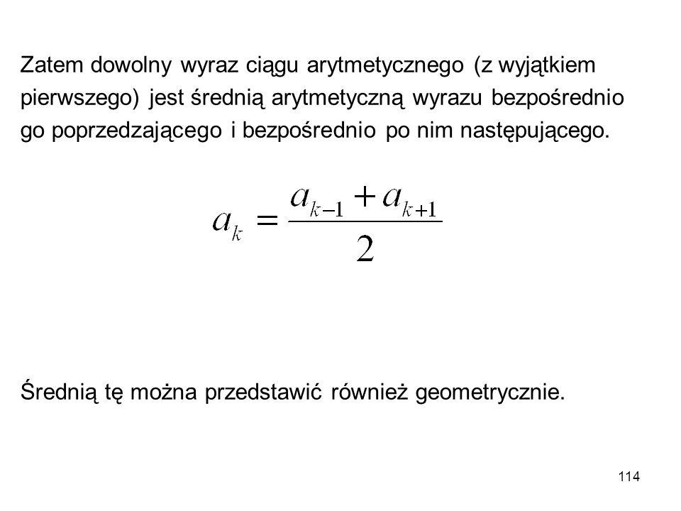 114 Zatem dowolny wyraz ciągu arytmetycznego (z wyjątkiem pierwszego) jest średnią arytmetyczną wyrazu bezpośrednio go poprzedzającego i bezpośrednio