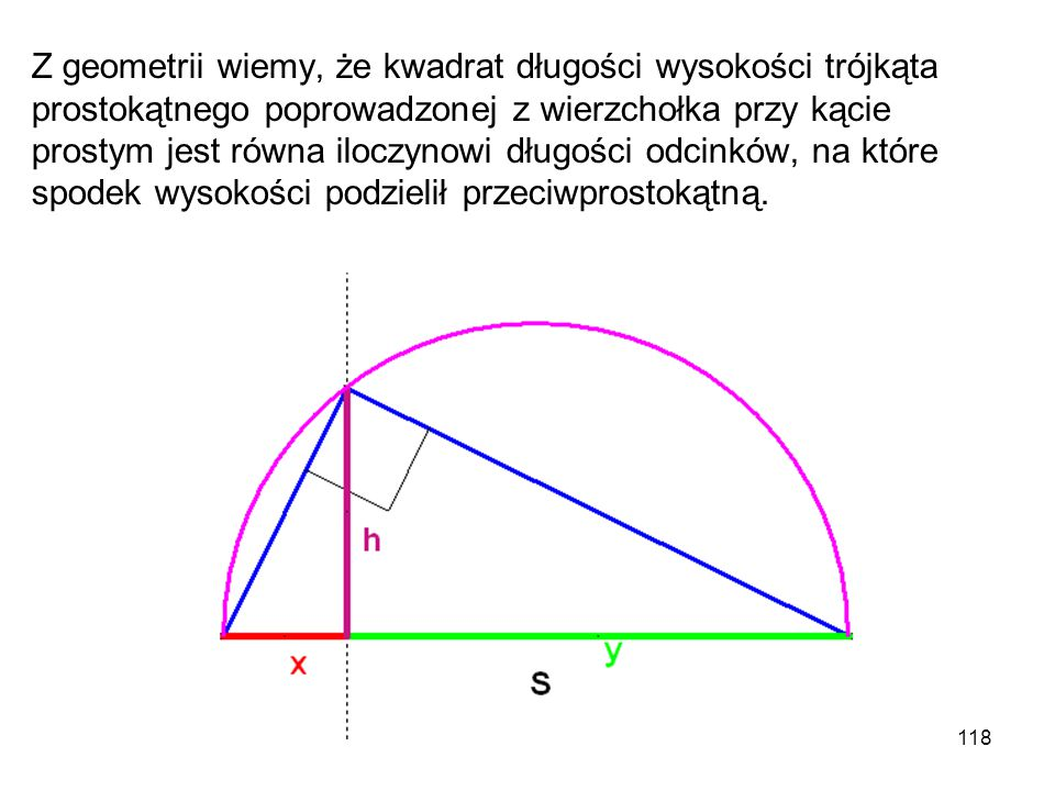 118 Z geometrii wiemy, że kwadrat długości wysokości trójkąta prostokątnego poprowadzonej z wierzchołka przy kącie prostym jest równa iloczynowi długo