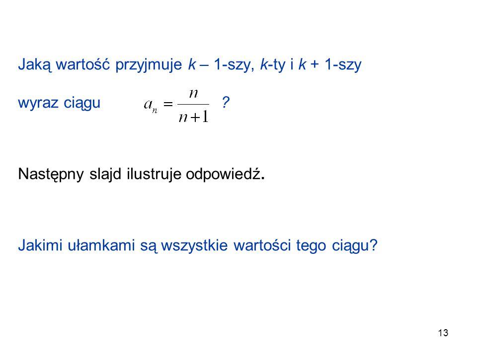 13 Jaką wartość przyjmuje k – 1-szy, k-ty i k + 1-szy wyraz ciągu ? Następny slajd ilustruje odpowiedź. Jakimi ułamkami są wszystkie wartości tego cią
