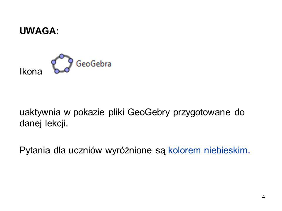 4 UWAGA: Ikona uaktywnia w pokazie pliki GeoGebry przygotowane do danej lekcji. Pytania dla uczniów wyróżnione są kolorem niebieskim.