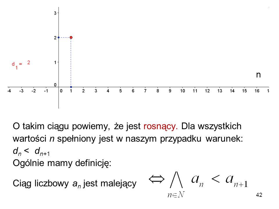 42 O takim ciągu powiemy, że jest rosnący. Dla wszystkich wartości n spełniony jest w naszym przypadku warunek: d n < d n+1 Ogólnie mamy definicję: Ci