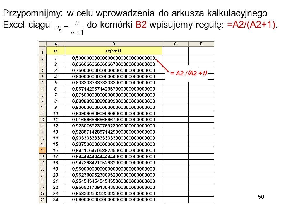 50 Przypomnijmy: w celu wprowadzenia do arkusza kalkulacyjnego Excel ciągu do komórki B2 wpisujemy regułę: =A2/(A2+1).