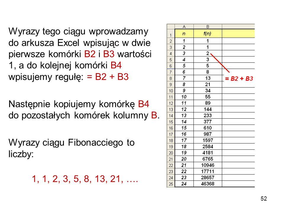 52 Wyrazy tego ciągu wprowadzamy do arkusza Excel wpisując w dwie pierwsze komórki B2 i B3 wartości 1, a do kolejnej komórki B4 wpisujemy regułę: = B2
