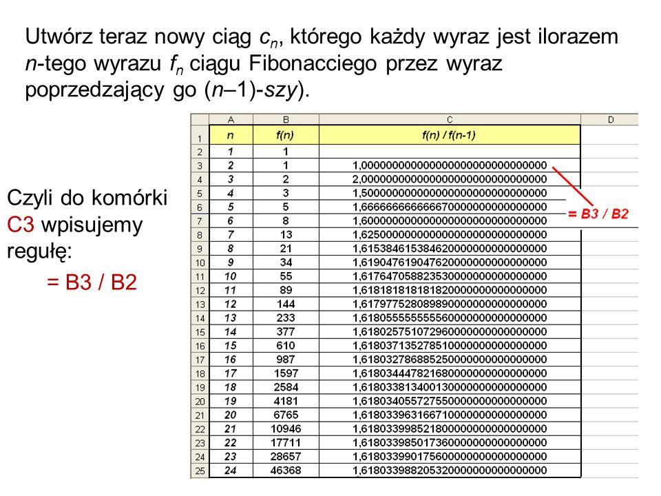 53 Utwórz teraz nowy ciąg c n, którego każdy wyraz jest ilorazem n-tego wyrazu f n ciągu Fibonacciego przez wyraz poprzedzający go (n–1)-szy). Czyli d