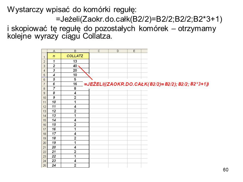 60 Wystarczy wpisać do komórki regułę: =Jeżeli(Zaokr.do.całk(B2/2)=B2/2;B2/2;B2*3+1) i skopiować tę regułę do pozostałych komórek – otrzymamy kolejne