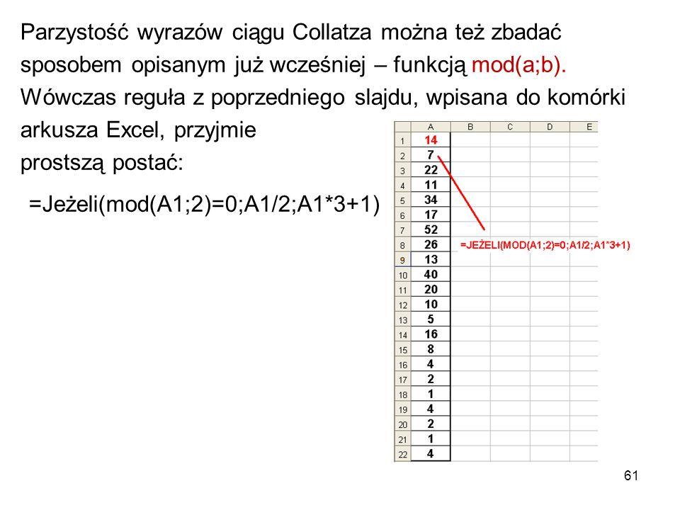 61 Parzystość wyrazów ciągu Collatza można też zbadać sposobem opisanym już wcześniej – funkcją mod(a;b). Wówczas reguła z poprzedniego slajdu, wpisan