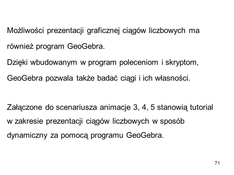 71 Możliwości prezentacji graficznej ciągów liczbowych ma również program GeoGebra. Dzięki wbudowanym w program poleceniom i skryptom, GeoGebra pozwal