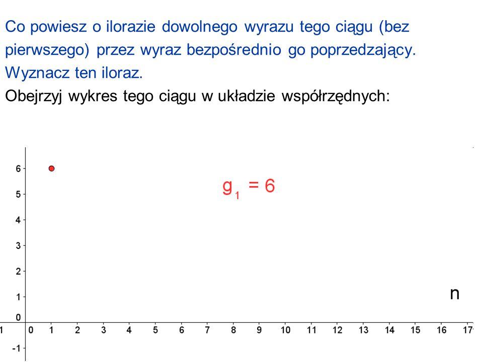 90 Co powiesz o ilorazie dowolnego wyrazu tego ciągu (bez pierwszego) przez wyraz bezpośrednio go poprzedzający. Wyznacz ten iloraz. Obejrzyj wykres t