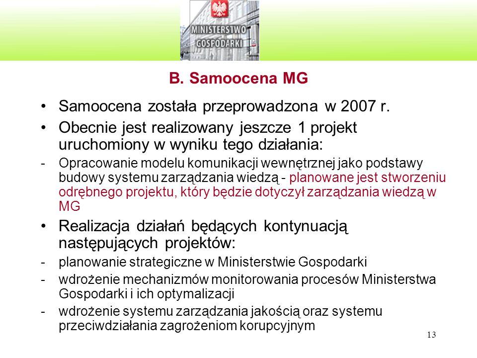 13 B. Samoocena MG Samoocena została przeprowadzona w 2007 r. Obecnie jest realizowany jeszcze 1 projekt uruchomiony w wyniku tego działania: -Opracow