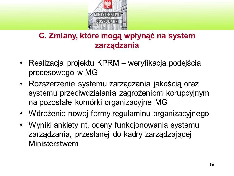 16 Realizacja projektu KPRM – weryfikacja podejścia procesowego w MG Rozszerzenie systemu zarządzania jakością oraz systemu przeciwdziałania zagrożeni
