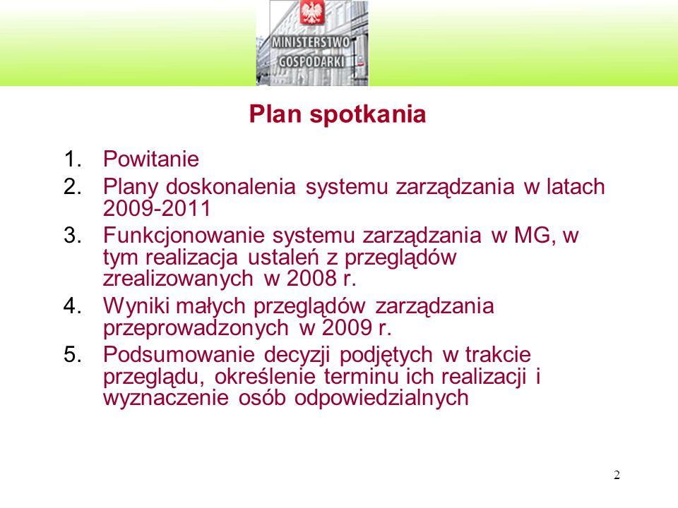 2 Plan spotkania 1.Powitanie 2.Plany doskonalenia systemu zarządzania w latach 2009-2011 3.Funkcjonowanie systemu zarządzania w MG, w tym realizacja ustaleń z przeglądów zrealizowanych w 2008 r.