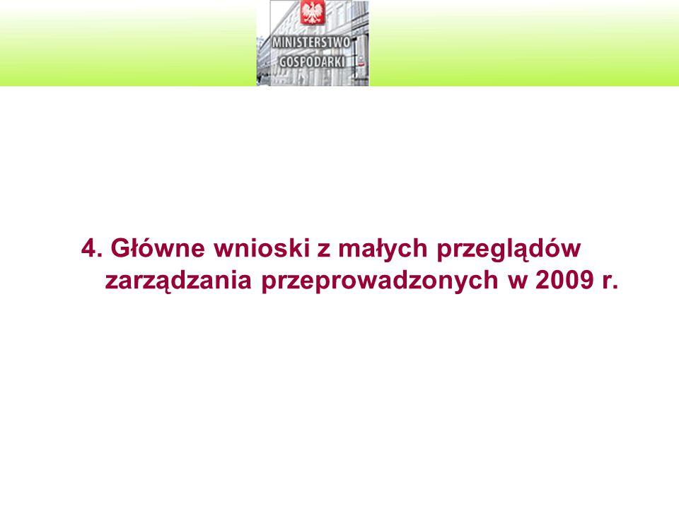 4. Główne wnioski z małych przeglądów zarządzania przeprowadzonych w 2009 r.