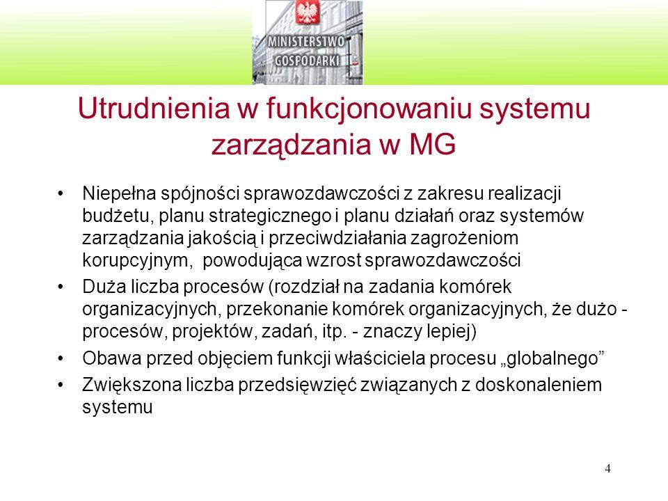 15 A.Realizacja ustaleń z dużego przeglądu zarządzania oraz z małych przeglądów zarządzania przeprowadzonych w 2008 r.