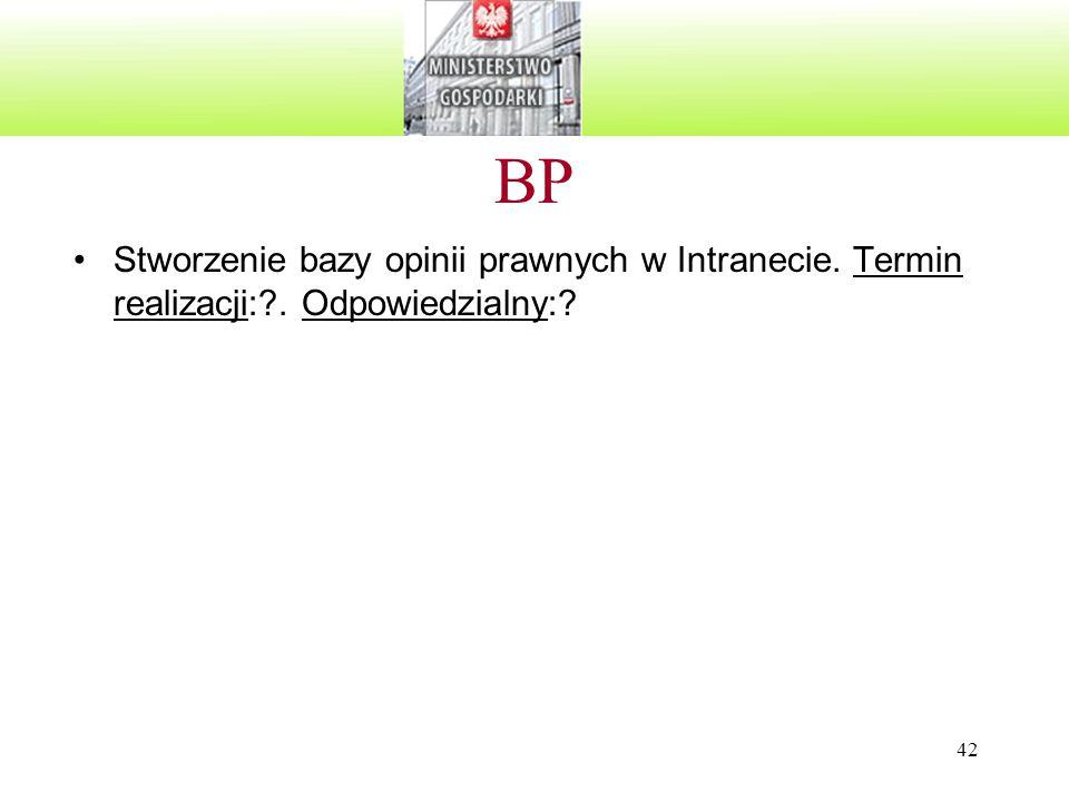 42 BP Stworzenie bazy opinii prawnych w Intranecie. Termin realizacji:?. Odpowiedzialny:?