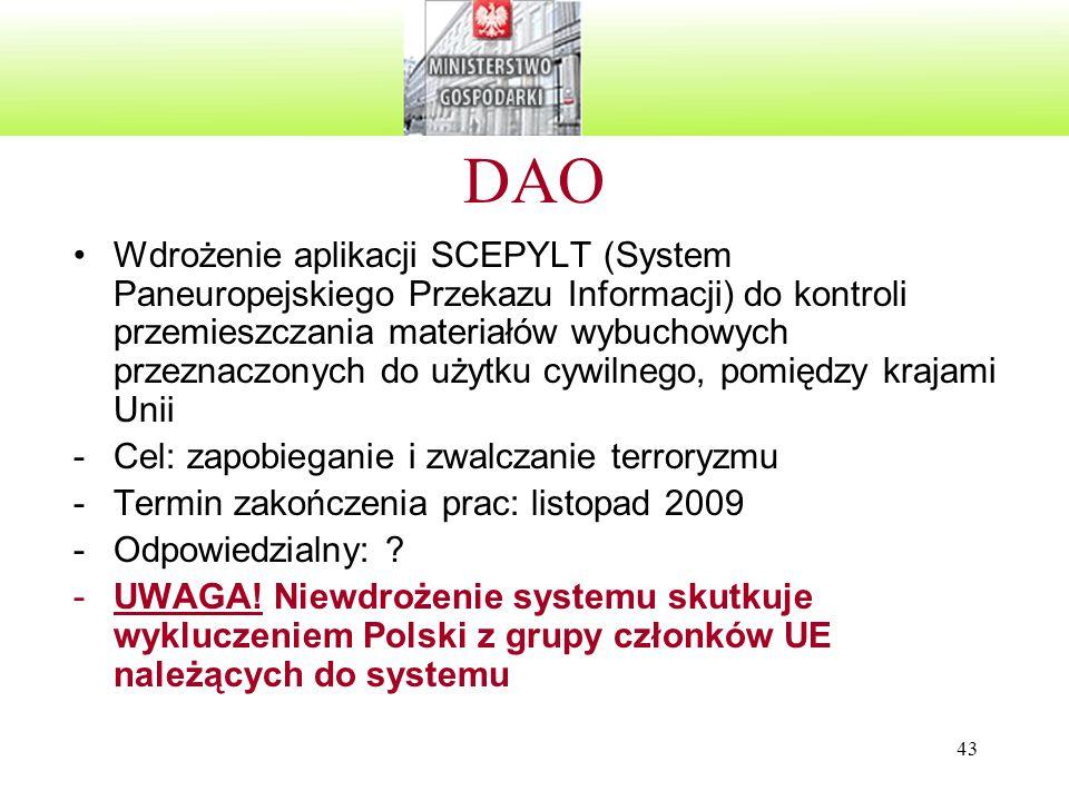 43 DAO Wdrożenie aplikacji SCEPYLT (System Paneuropejskiego Przekazu Informacji) do kontroli przemieszczania materiałów wybuchowych przeznaczonych do użytku cywilnego, pomiędzy krajami Unii -Cel: zapobieganie i zwalczanie terroryzmu -Termin zakończenia prac: listopad 2009 -Odpowiedzialny: .