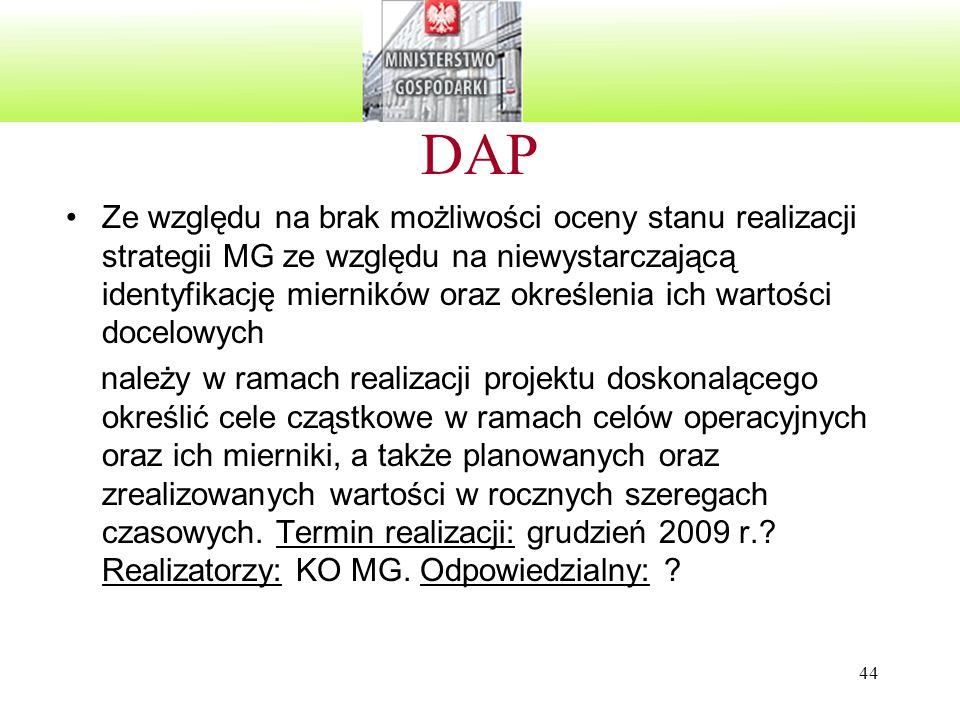 44 DAP Ze względu na brak możliwości oceny stanu realizacji strategii MG ze względu na niewystarczającą identyfikację mierników oraz określenia ich wartości docelowych należy w ramach realizacji projektu doskonalącego określić cele cząstkowe w ramach celów operacyjnych oraz ich mierniki, a także planowanych oraz zrealizowanych wartości w rocznych szeregach czasowych.